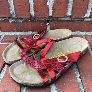 Tatami Birkenstock Candy Red Metallic Sandals 8
